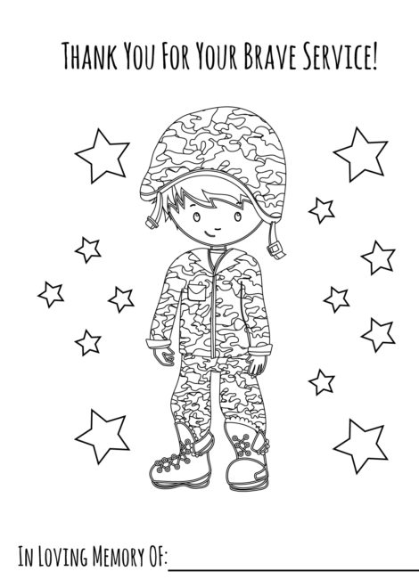 Memorial Day Coloring Page Boy 2
