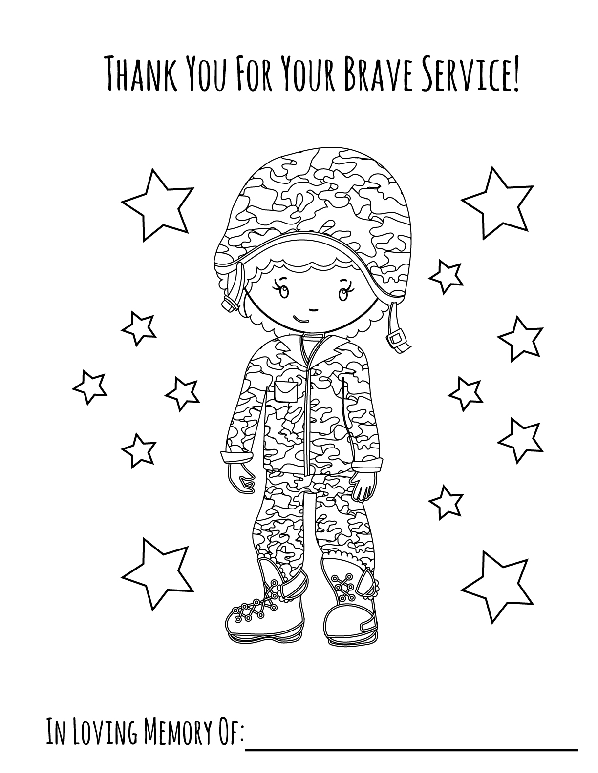 memorial day coloring page girl 2 - Coloring Page For Girl 2