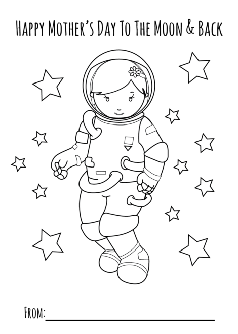 Moon Girl Mothers Day Printable Coloring Page