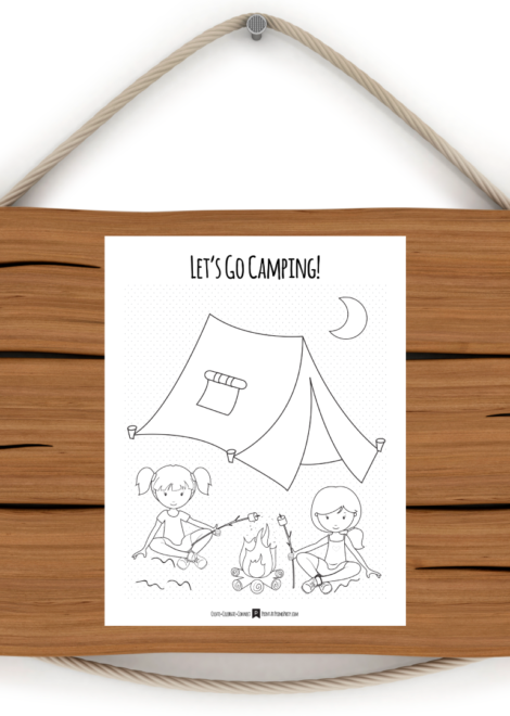 Girls Camping Coloring Page