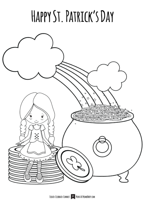 Girls St Patrick's Day Coloring Page
