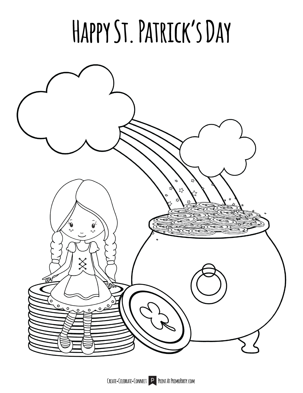 Girls St Patricks Day Coloring Page