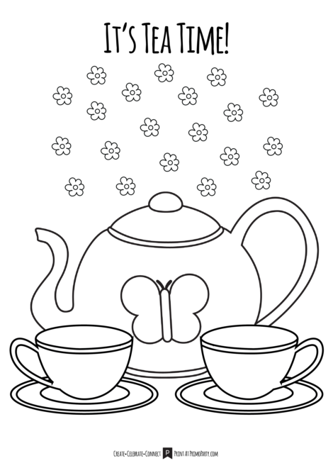 Tea Time Tea Party Coloring Page