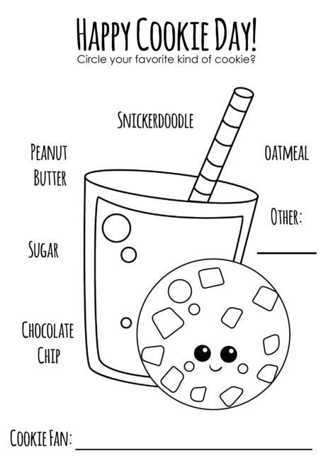 Cookies and Milk Coloring Page