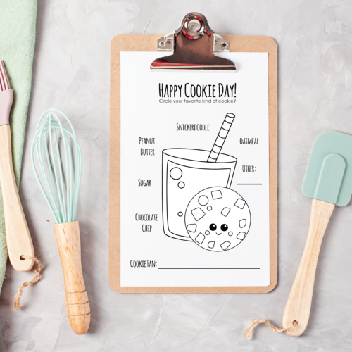 Cookies and Milk Coloring Page #HappyCookieDay